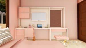 jasa desain interior kamar anak sukabumi pink